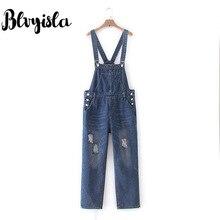 Blvyisla 4XL комбинезоны джинсы комбинезон свободные отверстие бойфренд Стиль Высокая талия джинсы оверсайз комбинезоны
