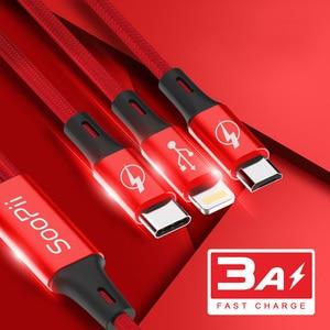 Image 2 - Câble USB Soopii 1.2M 3 en 1 type c & ios & micro câble chargeur USB 3A câble USB de charge rapide 2 paquets