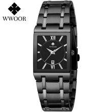 Часы наручные wwoor женские кварцевые модные квадратные чёрные