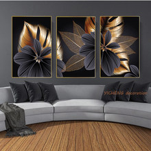 Black Golden Flowers Plant Leaf Modern Nordic Living Canvas Painting Print Poster wall Art Poster Printed Home Decoration image