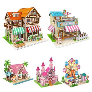 Three-Dimensional 3D Model Puzzles Handmade DIY Houses Building Blocks Kids Toys image