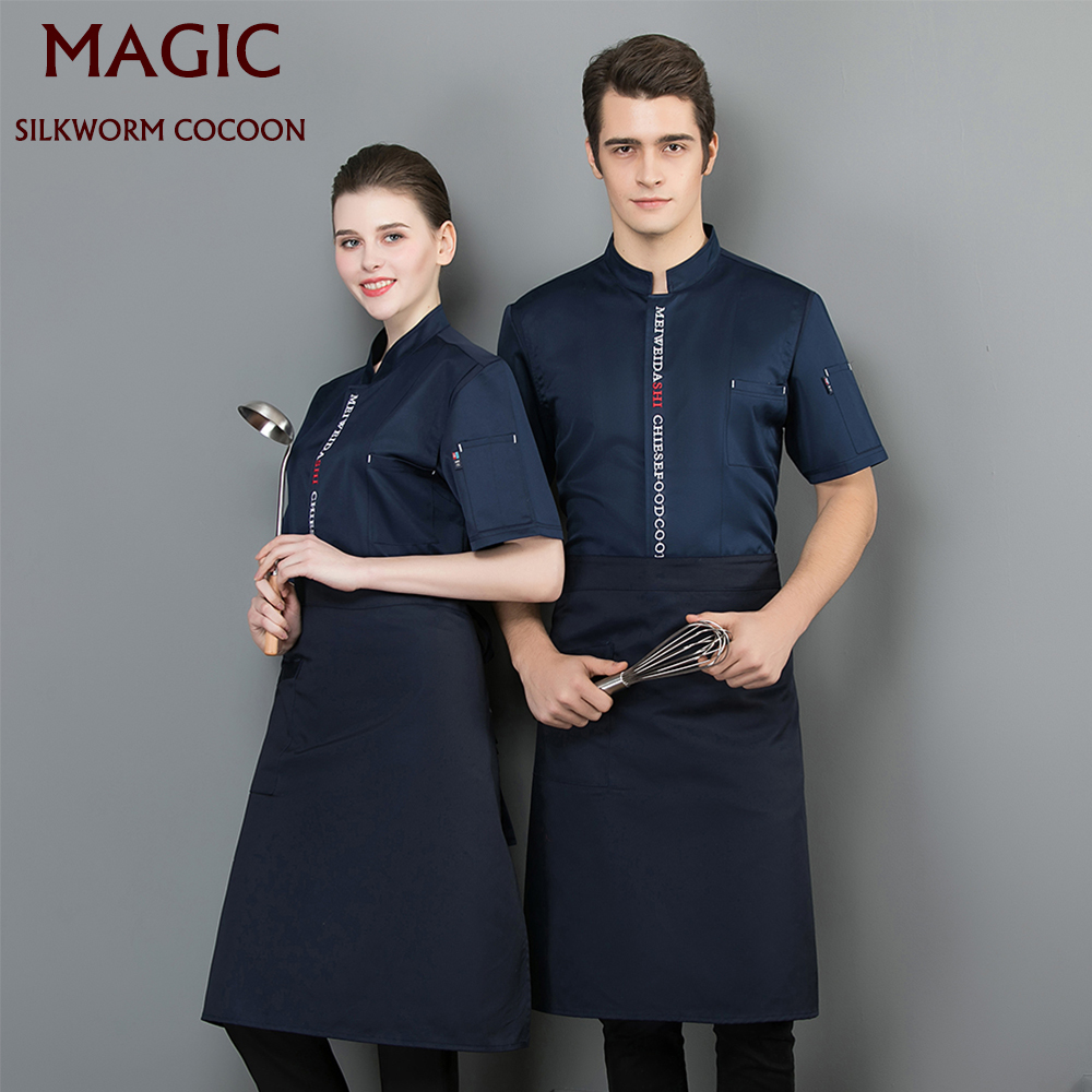 Blue Black Chef Uniform Breathable Coker Coat Chef Jackets New Work Clothes Men Restaurant Hotel Uniforms Shirts Work Clothes