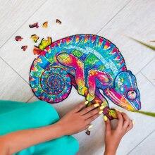 Diy quebra-cabeças de madeira forma camaleão animal artesanato de madeira quebra-cabeça para adultos crianças brinquedos artesanais presente natal decoração suprimentos
