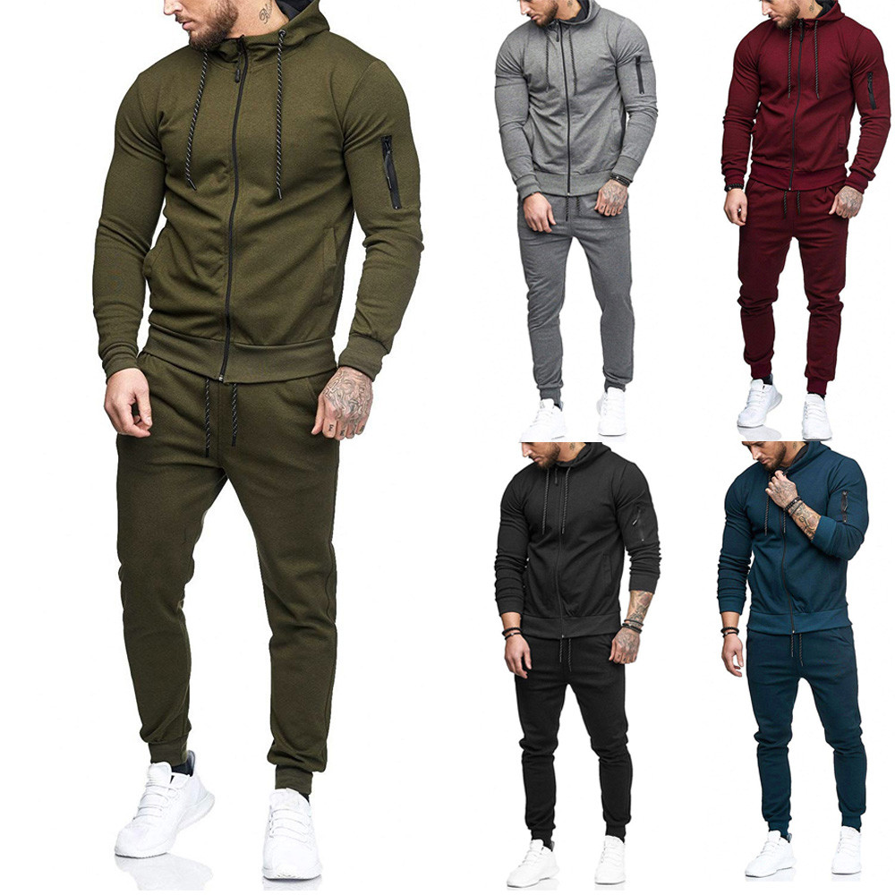 Sportswear Outono Patchwork Zíper Camisola Top Calças dos homens Define Terno Dos Esportes Treino dos homens terno de trilha 2019 survetement homme