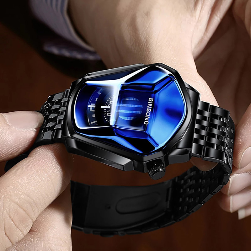 BINBOND 2020 new Gold wrist watch For Men male black technology waterproof student locomotive trend men's casual quartz watch 3