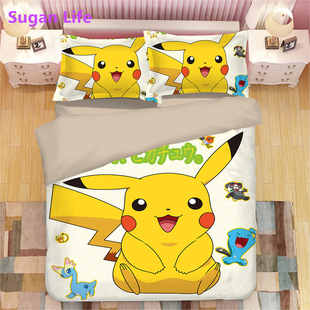 NEW bedding set 3d digital printing Cartoon Pikachu bed sheet duvet cover pillow 3pcs kids bedding set home textiles pokemon