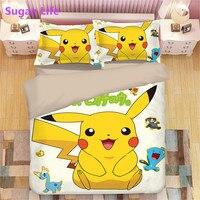 NEW bedding set 3d digital printing Cartoon Pikachu bed sheet duvet cover pillow 3pcs kids bedding set home textiles pokemon