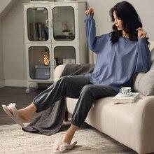 Ev giyim uzun kollu sonbahar kışlık pijama setleri kadınlar katı % 100% pamuk pijama salonu kapalı giyim artı boyutu