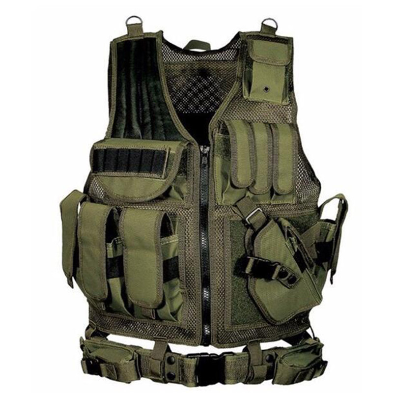 Outdoor Men Military Tactical Vest Paintball Camouflage Molle Hunting Vest Assault Shooting Hunting Plate Carrier With Holster