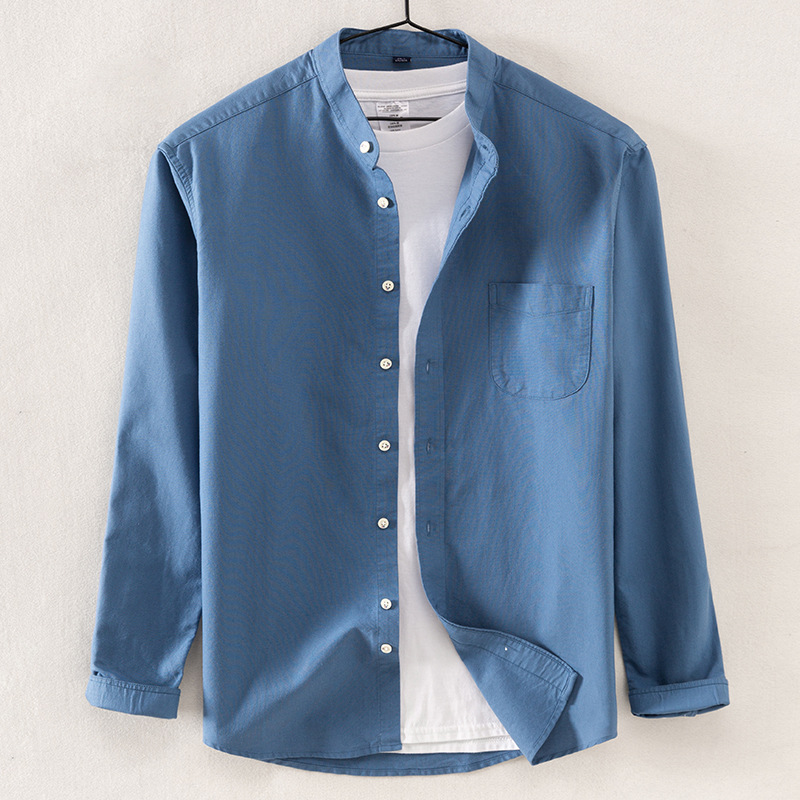 Solid Color Stand-up Oxford 100% Cotton Longsleeve Shirt for Men Korean Clothes Mens Fashion Clothing Trends Button Up Shirt
