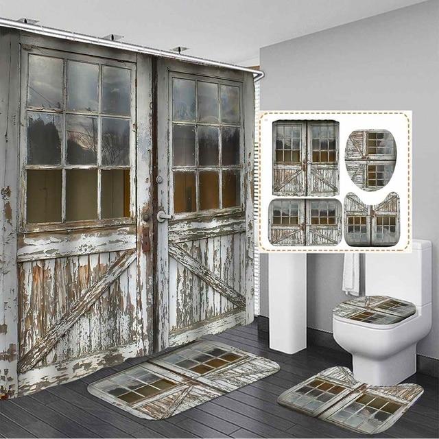 Old Vintage Wood Door Waterproof Bath Shower Curtain 2