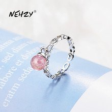 Adjustable Ring Agate Fashion Jewelry Heart-Ring-Size Pink Crystal Woman New NEHZY Silver