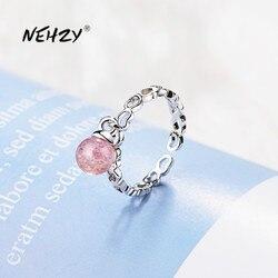 NEHZY 925 Sterling Silver nowa kobieta moda biżuteria wysokiej jakości różowy kryształ agat pierścień z sercem rozmiar regulowany pierścień
