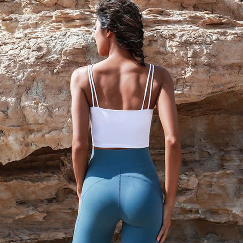 Sexy Padded Fitness Bras Crop Tops Women Solid Vest-Type Nylon Yoga Top Bra Sports Bras With Removable Pads Gym Workout Clothing Sport9s