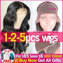 1 2 5 Pcs 로트 페루 바디 웨이브 레이스 정면 가발 귀에 귀 Pre prelucked 150% 180% 레이스 클로저 가발 인간의 머리카락 자린 레미