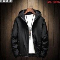 autumn men casual home cotton jackets hooded zipper jackets plus size 4XL 5XL 6XL black red loose jacket 120KG 130KG 52 54 56