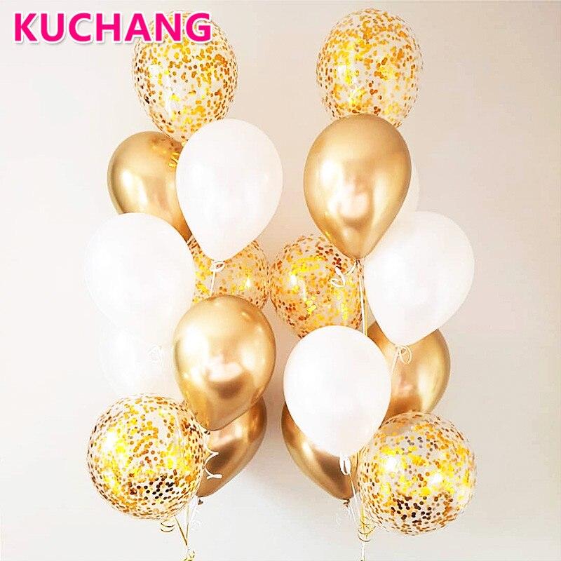 10/18 шт. Металлические латексные воздушные шары из хромированного золота и серебра, прозрачные золотые конфетти шары для свадьбы и дня рожде...
