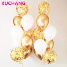 10/18pcs Metal Chrome Gold Silver Latex Balloons Transparent Golden Confetti Balloon Wedding Birthday Rose Gold Party Decoration