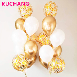 10/18pcs Metal Chrome Gold Silver Latex Balloons Transparent Golden Confetti Balloon Wedding Birthday Rose Gold Party Decoration(China)