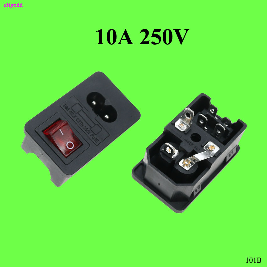 Cltgxdd 1pcs AC 250V 10A 2 Pins C8 Power Inlet Socket Connector Socket With Fuse With Boat Small Switch Three-in-one Card