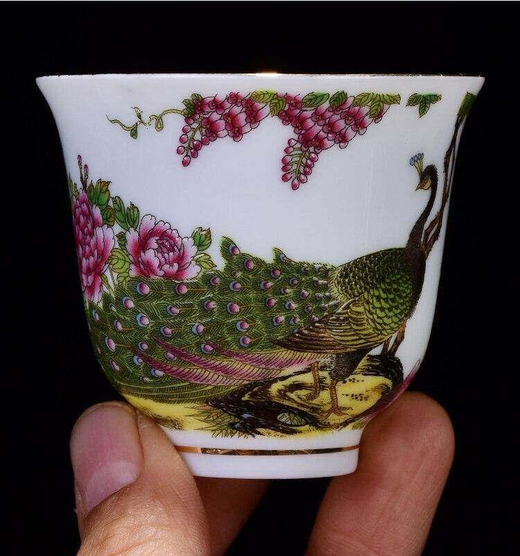 Jingdezhen teacup esmalte pintados à mão flores