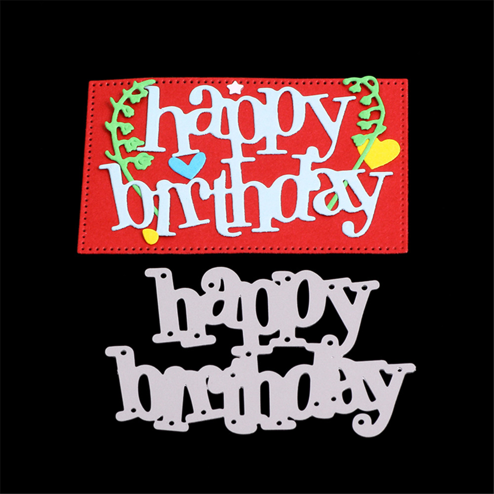 Word Happy Birthday Metal Cutting Dies Embossing Stencils For DIY Photo Album Decor Greeting Paper Card Making Crafts