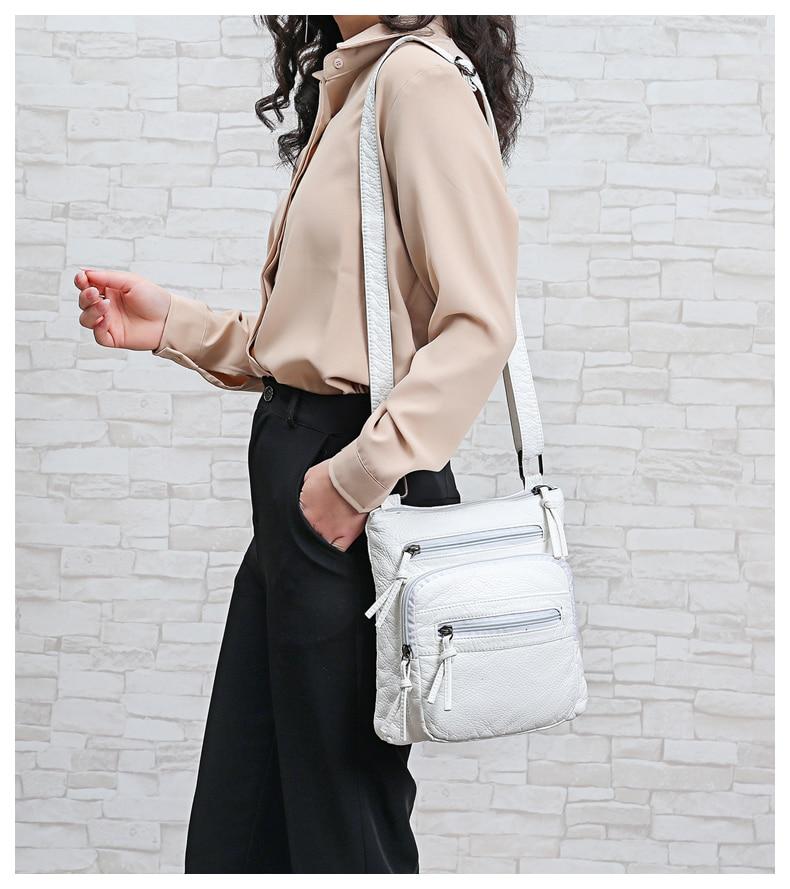 Bolsa de ombro de couro branco bolsa