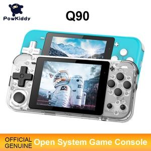 Image 1 - Игровая консоль POWKIDDY Q90, 3 дюймовый IPS экран, двойная открытая система, 16 симуляторов, ретро PS1, подарок для детей, 3D новые игры