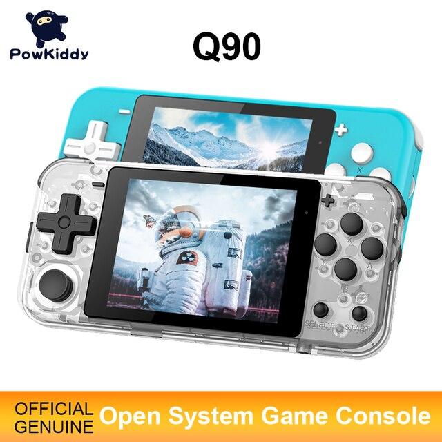 Игровая консоль POWKIDDY Q90, 3 дюймовый IPS экран, двойная открытая система, 16 симуляторов, ретро PS1, подарок для детей, 3D новые игры