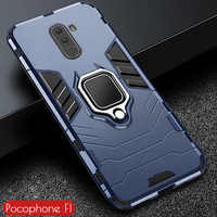 For Pocophone F1 Case Armor PC Cover Finger Ring Holder Phone Case For Xiaomi Poco phone Pocofone F1 Cover Shockproof Bumper
