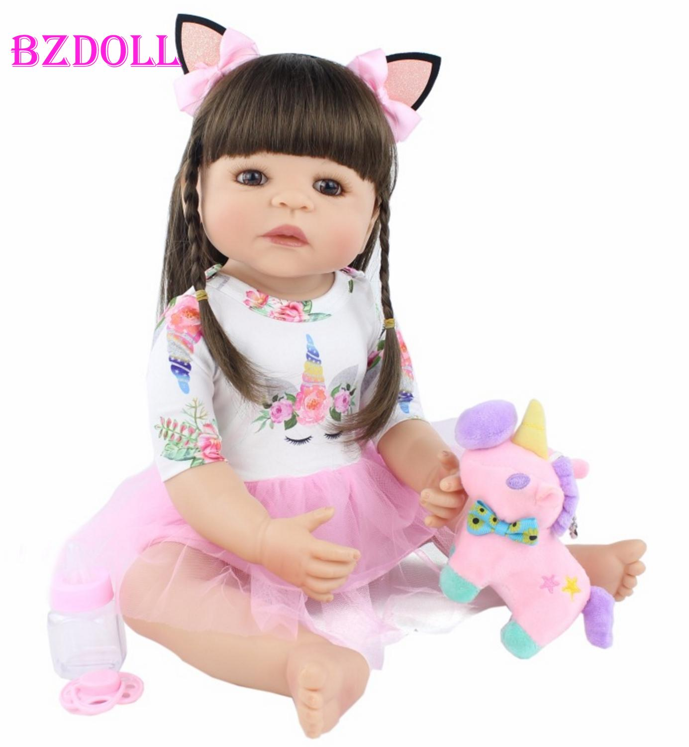 55cm Full Silicone Reborn Baby Doll Toy For Girl Newborn Princess Toddler Alive Babies Bebe Classic Boneca Bathe Toy Child Gift(China)