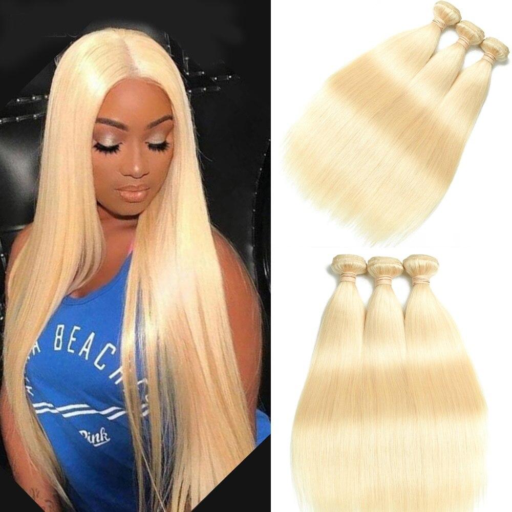 Beaudiva 613 cabelo loiro 1/3/5/10 pçs pacote de cabelo brasileiro tecer em linha reta remy trama do cabelo humano 26 28 Polegada