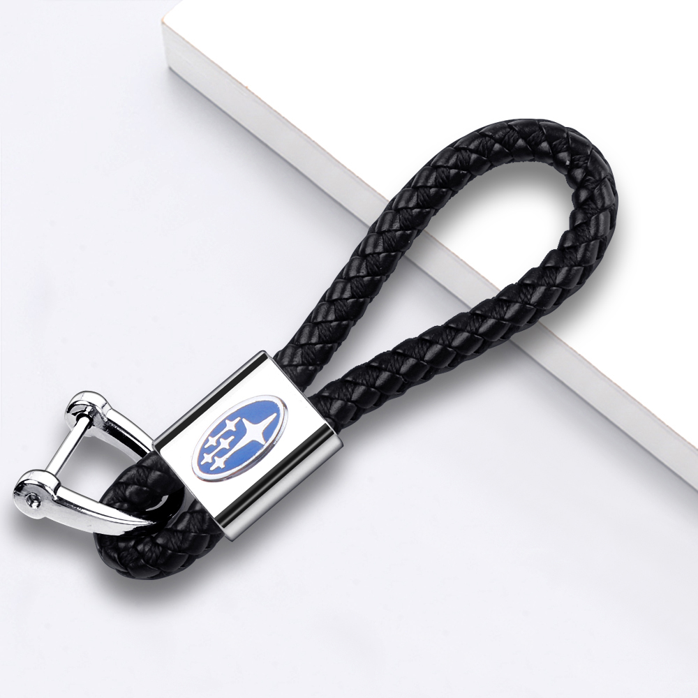 Car Styling Car Keychain Black Leather Braided Rope Car Key Accessories Fit For Subaru XV BRZ Forester Legacy Outback