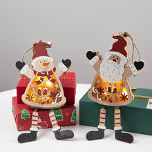 LED Light Snowman Santa Claus Christmas Tree Hanging glow Wooden Ornament Xmas For Holiday christmas decorations for home F912(China)