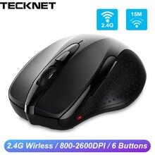 Беспроводная мышь TeckNet 2,4 ГГц, компьютерная мышь с usb приемником, оптическая эргономичная мышь Mause 2600 dpi для ноутбуков и настольных ПК