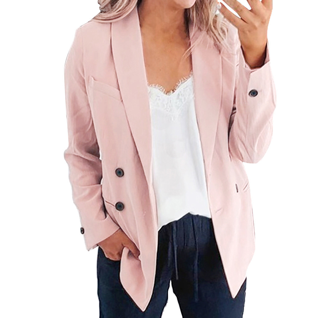 Female Blazer Autumn Women's Jacket Ladies Solid Overalls Turn Down Collar Jacket Long Sleeve Coat Parka Outerwear Blazer Mujer