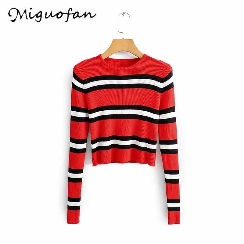 Miguofan Bergaris Pullovers Rajutan Pendek Sweater Pullover Top Musim Gugur Wanita Crop Sweater Wanita 2020 Musim Semi Baru Fashion | Menarik