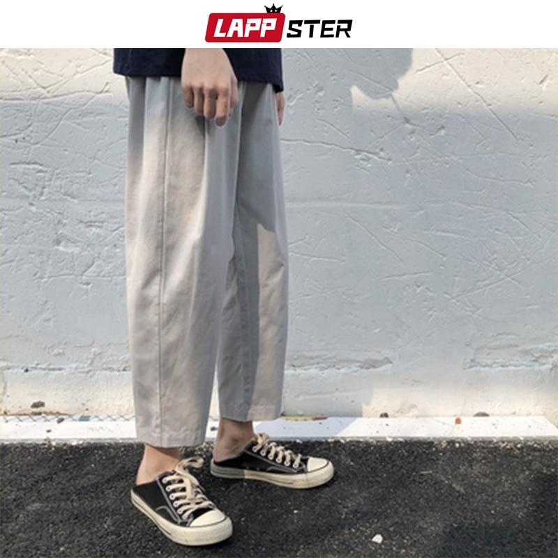 LAPPSTER Men Korean Streetwear Harem Pants 2020 Summer Wide Leg Pants Mens Loose Harajuku Sweat Pants Male Casual Cropped Pants