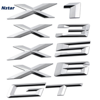 Nstar 1pc X1 X3 X5 X6 GT Badge Car Boot Trunk Tailgate Emblem Auto Part Decoration For BMW Sticker 174 3d abs chrome abs number letters word car trunk badge emblem letter decal sticker for bmw 3 series gt 5 series gt x1 x3 x5 x6 z4