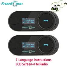 Intercom Bluetooth-Headset Lcd-Screen Motorcycle-Helmet Fm-Radio T-COMSC Freedconn GPS