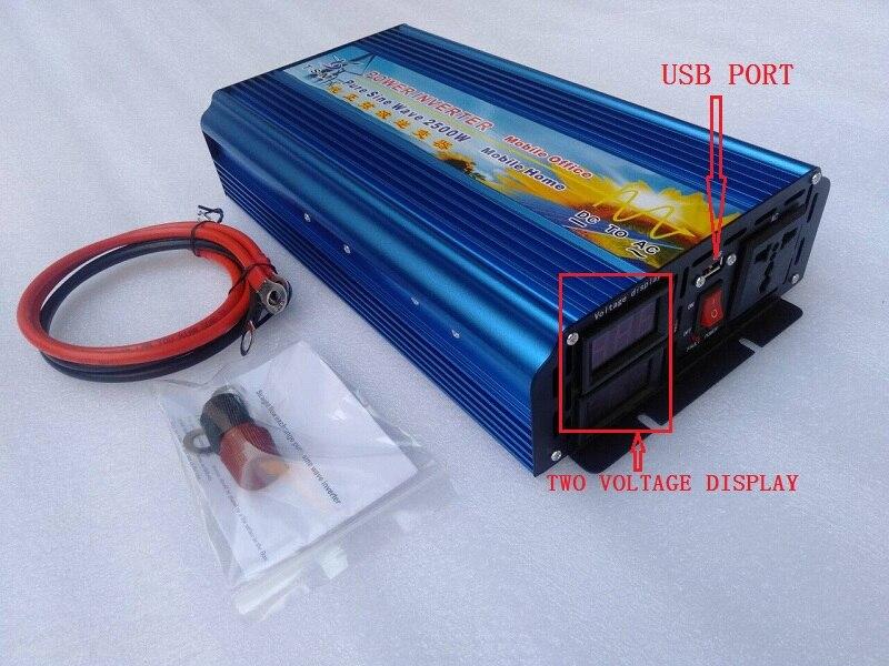 Инвертор немодулированного синусоидального сигнала, 2500 Вт, 12 В/24 В/36 В/48 В/60 в/72 В переменного тока, 220 В, цифровой дисплей, новая версия