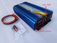New Version Full power 2500W DC12V/24V/36V/48V/60V/72V TO AC110V/220V pure sine wave Inverter with two voltage digital display