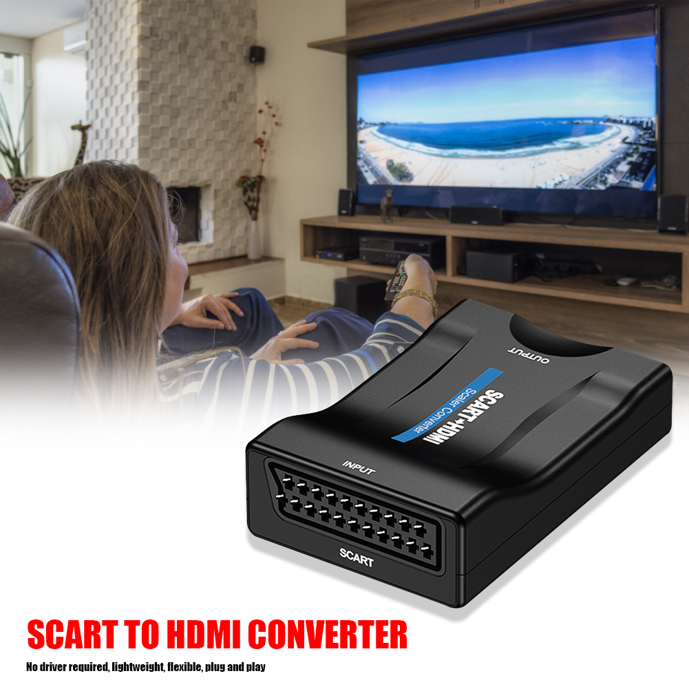 HW2905 SCART To HDMI Converter 1080P/720P Video Audio Adapter For HDTV DVD