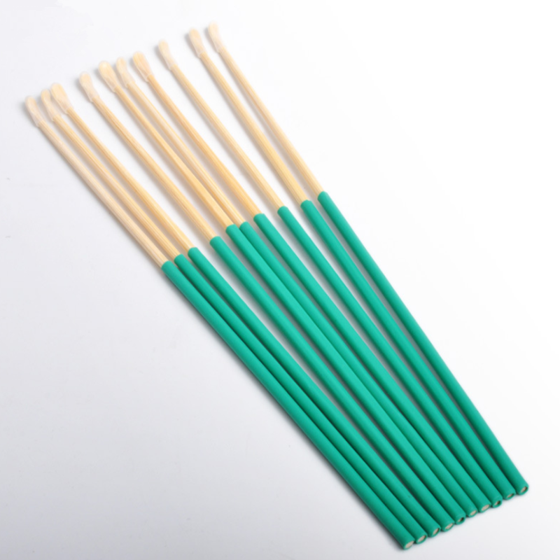 Bamboo Wooden Ear Cleaner Spoon Anti-Skid Green Rubber Handle Earpick Earwax Removal With Soft Silicone Cover Head Health Care
