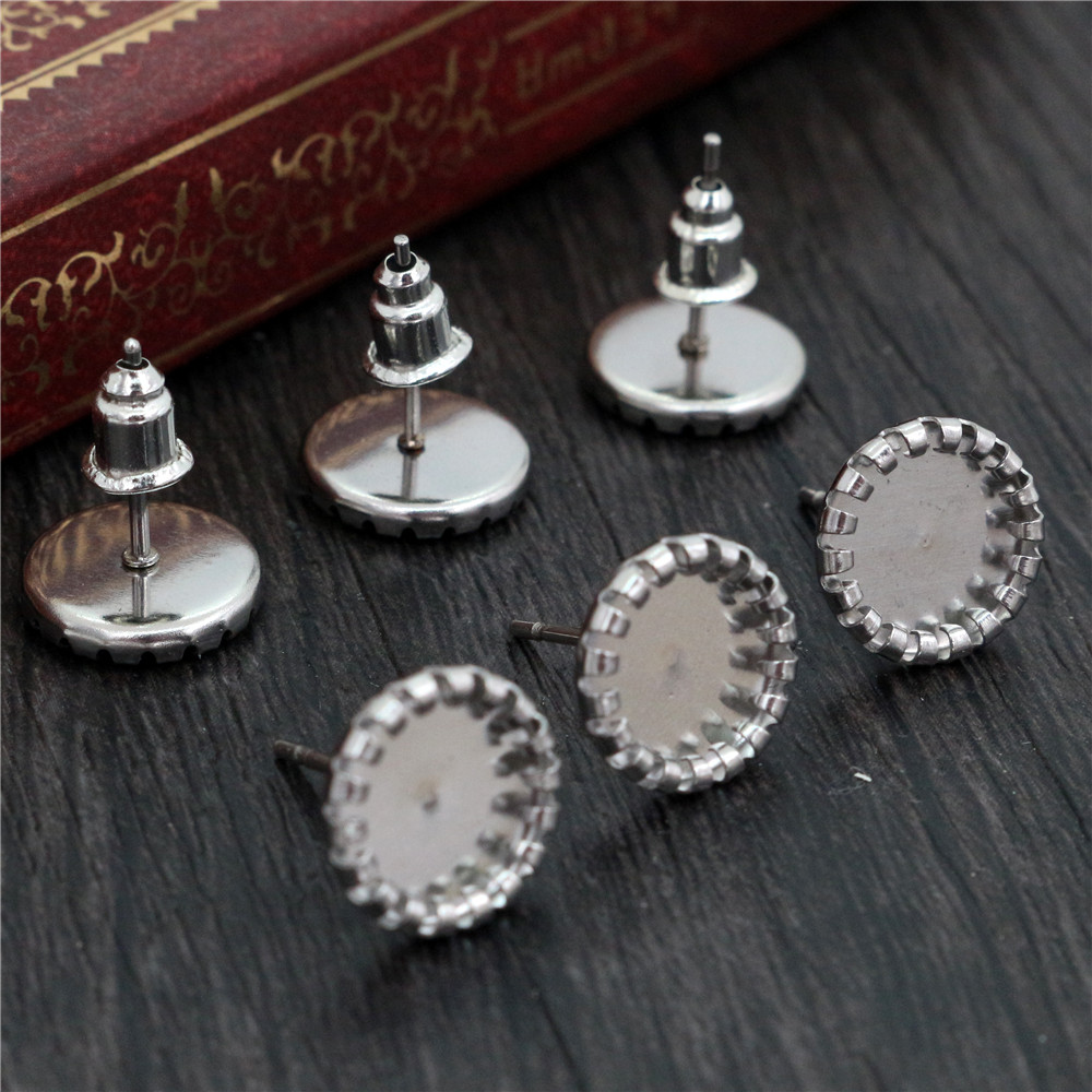 (Never Fade) 20pcs 8mm Stainless Steel Earring Base Studs Ear Cameo Settings Cabochon Base Tray Blank (With Back)-T6-06