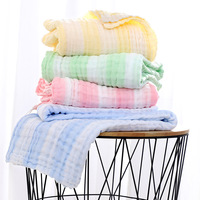 110*110cm 6 Layers Solid Baby Bath Towel Muslin 100% Cotton Towels Child Receiving Blanket Absorb Blanket Swaddle Wrap Bedding