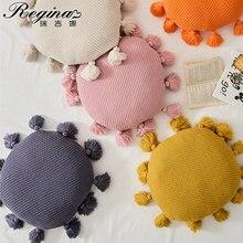 REGINA Cute Tassel Soft Round Seat Cushion Fluffy Kawaii Home Decor Cotton Bed Throw Pillow Car Sofa Chair Knitted Back Cushions
