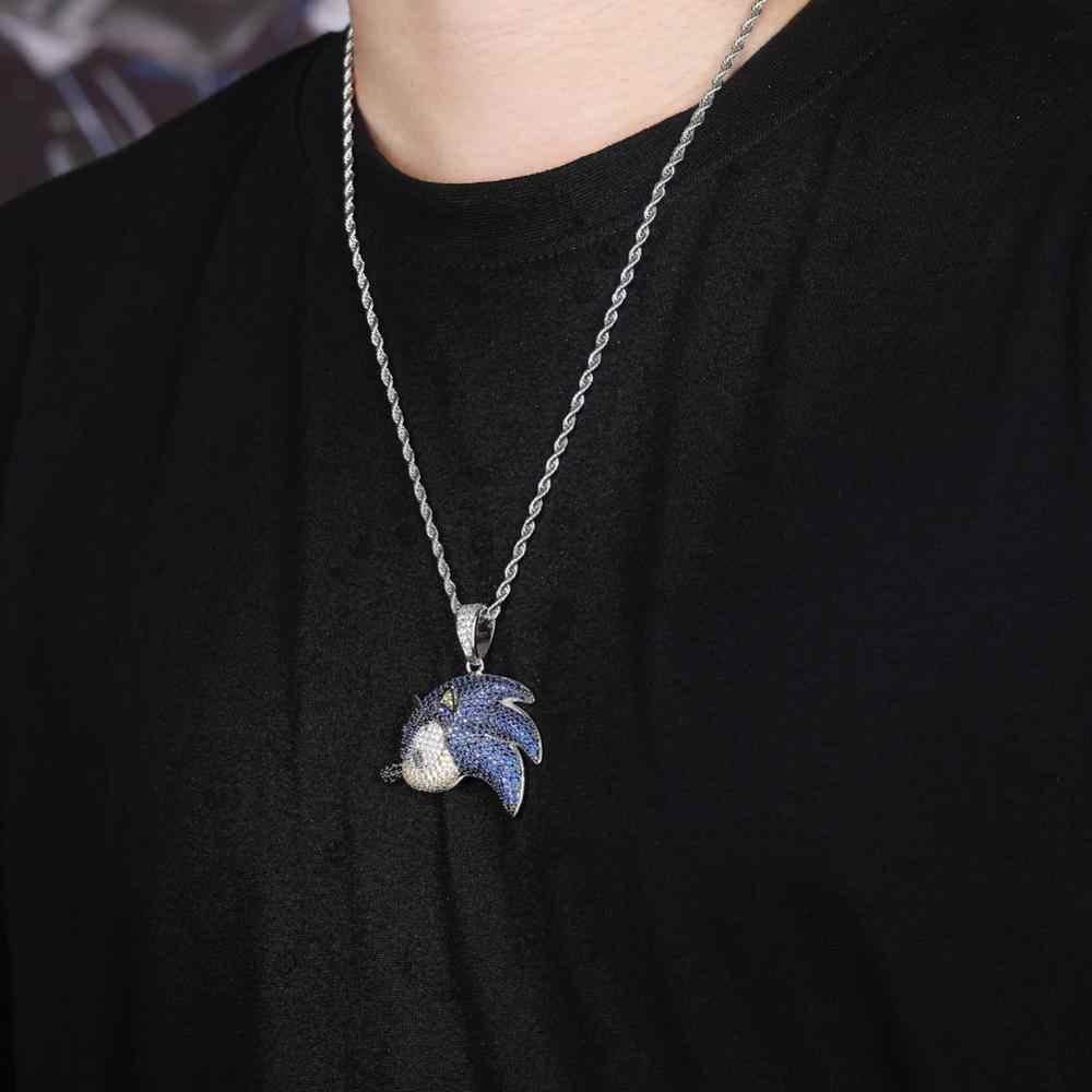 TOPGRILLZ SonictheHedgehog seria naszyjnik Iced Out Chain Bling Cubic cyrkon osobowość Hip Hop Rock biżuteria dla człowieka