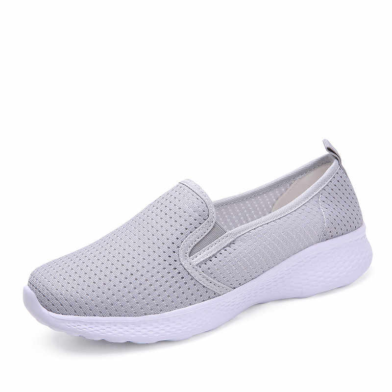 PINSEN 새로운 패션 여성 로퍼 신발 통기성 메쉬 여름 신발 여성 슬립 온 스니커즈 플랫 숙녀 신발 zapatillas mujer