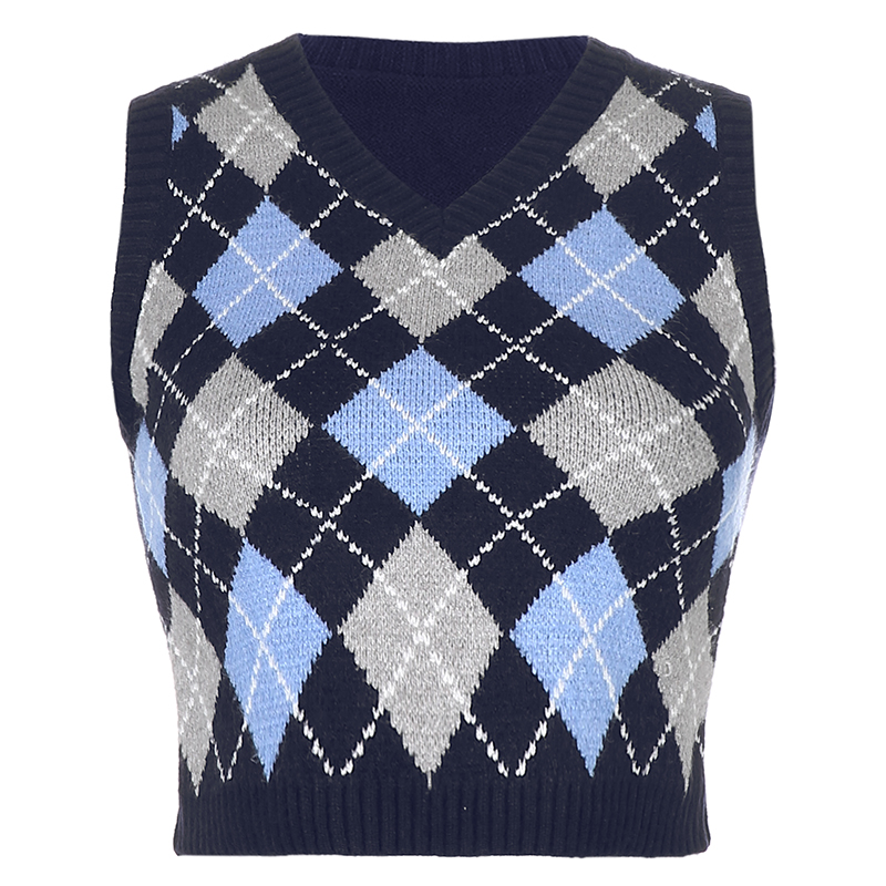 HEYounGIRL V Neck Vintage Argyle Sweater Vest Women Y2K Black Sleeveless Plaid Knitted Crop Sweaters Casual Autumn Preppy Style